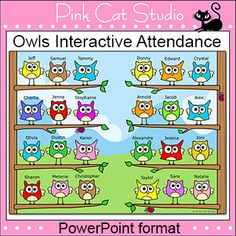 Owl Friends Interactive Attendance Sheet for Interactive Whiteboards