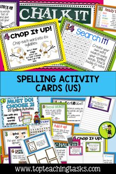 These spelling activity task cards and Print and Go student worksheets are designed to save you time while providing students with a range of fun and interactive ways to practice their spelling words. They work with ANY spelling list, so they are perfect for differentiated learning. Use these spelling activities as a literacy station activity or for morning bell work, homework, or as an early finisher resource. 2nd Grade, 3rd Grade, 4th Grade, 5th Grade, 6th Grade, 7th Grade!