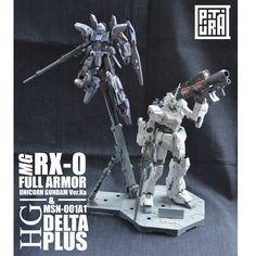 MG 1/100 RX-0 Fullarmor Unicorn Gundam Ver. Ka & HGUC 1/144 Delta Plus by Putra Shining