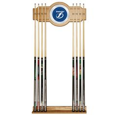Trademark Commerce NHL6000-TBL NHL Tampa Bay Lightning 2 piece Wood and Mirror Wall Cue Rac