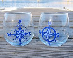 Nautical Blue Compas Rose - Set of 2 Hand Painted Stemless Red Wine Glasses 'Beach/Ocean/Coast/Shoreline/Boat Gifts Under 25'