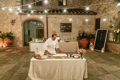 Chef Patrizio making the Mille Foglie wedding cake in front of guests. Wedding Cake, Wedding Reception, Siena, Wedding Locations, Florence, Wedding Planner, Table Settings, Events, Table Decorations
