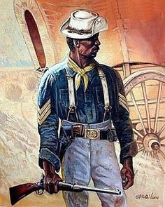 Protecting The Settlers is a limited edition work of art by Bobb Vann illustrating a buffalo soldier with a rifle in hand watching over a stagecoach. American Indian Wars, African American History, American Civil War, Black History Facts, Art History, Ronin Samurai, Black Cowboys, The Settlers, Cowboy Art