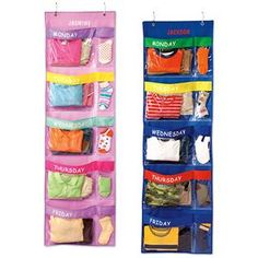 Days of the week clothes organizer for kids. I plan to try to create one of these on my own but if I have no luck I will be purchasing this one! ** UPDATE 1/27/12: I purchased this from Lillian Vernon & I LOVE it! **