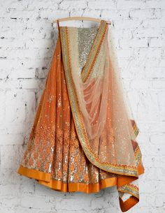 The Stylish And Elegant Lehenga Choli In Orange Colour Looks Stunning And Gorgeous With Trendy And Fashionable Embroidery .The Net Fabric Party Wear Lehenga Choli Looks Extremely Attractive And Can . Lengha Choli, Indian Lehenga, Net Lehenga, Sarees, Bollywood Lehenga, Party Wear Lehenga, Bridal Lehenga, Indian Wedding Outfits, Indian Outfits