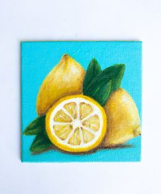 Original Lemons painting, acrylics on canvas, mini art Small Canvas Paintings, Mini Canvas Art, Mini Paintings, Acrylic Painting Canvas, Original Paintings, Lemon Painting, Summer Painting, Fruit Painting, Lemon Pictures