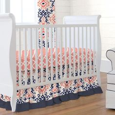 fa90d8b5d Navy and Coral Ikat Girl Crib Bedding Set by Carousel Designs.  babybed