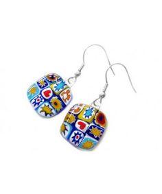 Handgemaakte blauw-rood-geel-witte glazen millefiori oorbellen!