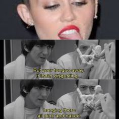 Miley Cyrus gets a lesson from George Harrison