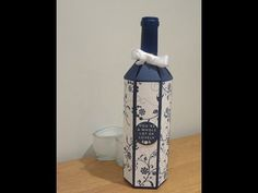 Wine Bottle Gift Box Tutorial - Full size wine bottle bag - YouTube