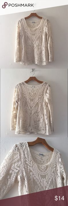 Express Longsleeve Lace Top Light cream colored laced top. Gently worn and still in great shape! Can wear a camisole underneath, unless you want to make a bold statement. Express Tops
