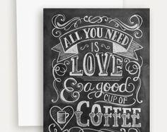 Alles was Sie brauchen ist Liebe Hinweis Card  Hand von LilyandVal