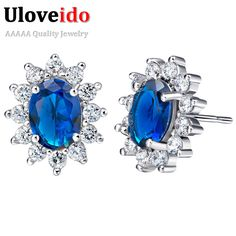 Find More Stud Earrings Information about 50% off Uloveido Sunflower CZ Diamond Jewelry Silver Earring With Sapphire Blue Topaz Stone for Women Girl Orecchini Donna  R751,High Quality earrings orange,China earrings celtic Suppliers, Cheap earrings cubic from ULOVE Fashion Jewelry Official Store on Aliexpress.com