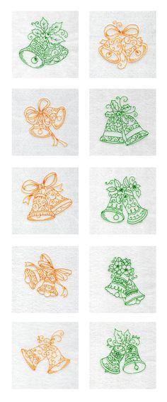 Redwork Bells Embroidery Machine Design Details