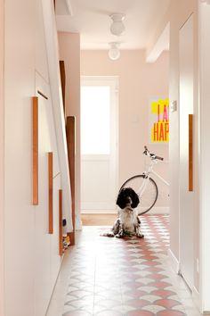 Hallway - 'mosaic del sur' ceramic concrete tiles, FB pink ground paint colour, bespoke under-stair storage, cocker spaniel dog Blush Pink Paint, Pink Paint Colors, Pale Pink, Pink Hallway, Tiled Hallway, Farrow And Ball Paint, Farrow Ball, Pink Ceiling Paint, Decoration Entree