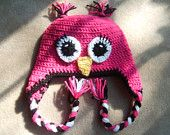 Made to Order. Pink and Blak  Owl Hat. Newborn, 3 to 6 Months, 6 to 12 Months, 12 to 24 M Months, 2T to 4T