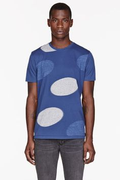 PAUL SMITH JEANS Blue oversize polka dot print t-shirt