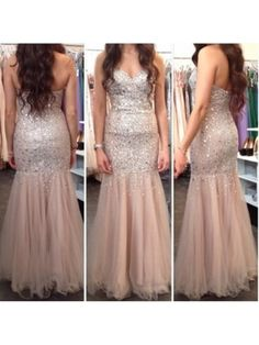 Nude Sweetheart Zipper Back Sparkle Mermaid Prom Dress With Sequins