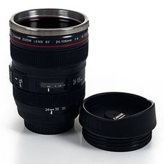 @Overstock.com - Camera Lens Stainless Steel Coffee Mug with Lid - Bring beverages into sharp focus with the SLR Camera Lens Travel Mug by Whetstone. This striking mug has the look and feel of an authentic SLR camera lens from focus and aperture rings to distance and depth of field scales.  http://www.overstock.com/Home-Garden/Camera-Lens-Stainless-Steel-Coffee-Mug-with-Lid/8162150/product.html?CID=214117 $15.99
