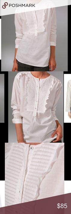 Rebecca Taylor white tunic top Sz 6 NWT Cotton/silk combo pin tuck tunic top with Swarovski crystal button detail Retail $298 Rebecca Taylor Tops Blouses