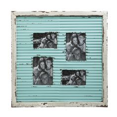 Laurel Foundry Modern Farmhouse Corrugate Metal with Distressed Wood Picture Frame