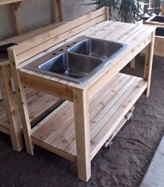 Potting Bench Plans with Sink Awesome Backyard Garden Ideas Ve Able Pots 65 Ideas for 2019 – simple country house plans Potting Bench With Sink, Outdoor Potting Bench, Potting Bench Plans, Potting Tables, Mud Kitchen, Kitchen Benches, Kitchen Ideas, Kitchen Decor, Outside Sink
