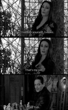 Adams Family Quotes, Family Meme, Addams Family Cartoon, Stupid Funny Memes, Funny Quotes, Gomez And Morticia, Tim Burton Characters, Family Values, Film Serie