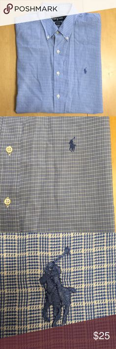 🔴 Mens Ralph Lauren Size 16 Button Up Dress Shirt Yarmouth fit, great condition slight yellowing on collar priced to reflect condition, 16 32/33 Ralph Lauren Shirts Dress Shirts