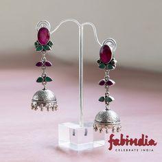 Silver Anusuya Dangles Earrings. Free Shipping Worldwide. Explore More!