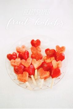 Handmade 2016 Valentine heart shape fruit kabobs with watermelon and strawberry - Valentine party snacks