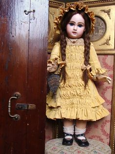 Wonderful antique JUMEAU Bebe size 13 in her wooden box. from les-fees-du-temps on Ruby Lane