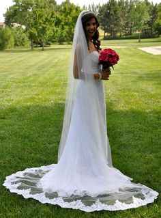 Just stunning!  Cathedral Wedding Veil with Beaded Lace Edge C440 - Affordable Elegance Bridal -
