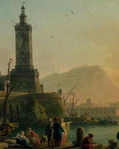 A Calm at a Mediterranean Port. Claude-Joseph Vernet. 1714 - 1789.  #art #painting #mediterranean