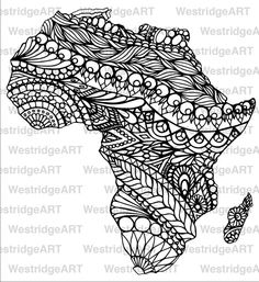 Mandala Doodle Adult Colouring Page Map of Africa par WestridgeART mandala afrique tatto africa
