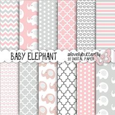 Rosa carta digitale elefante grigio bambina Digital Paper Pack, puntini, chevron, bambino Scrapbooking, uso commerciale piccolo, INSTANT DOWNLOAD