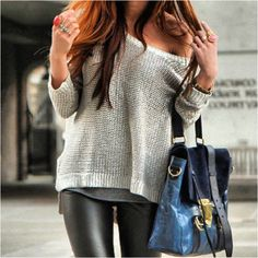 leather leggings and off shoulder sweater