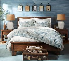 Pottery Barn Bedroom - Textured wall with vintage accents and love the art above the headboard