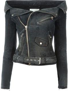 off-shoulder denim biker jacket