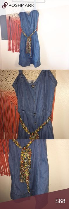 New Anthropologie Cotton Jean Rise N Shine Dress New with tags Anthropologie Pilcro and the Letterpress Rise N Shine cotton dress. Retail: $98.00. Elastic stretch back. Belted with a scarf. Size 6. Fully button down. Anthropologie Dresses