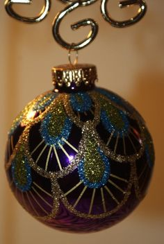 Glass Purple Peacock Feathers Ball Christmas Ornament with Glitter - NEW! picclick.com