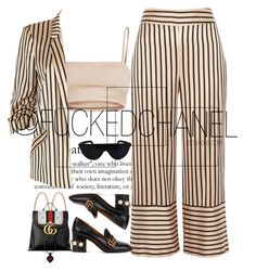 """""""GUCCI ft STRIPE"""" by fuckedchanel ❤ liked on Polyvore featuring River Island and Gucci"""