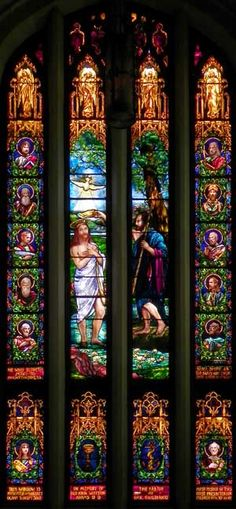Baptism of Jesus ~ Installed 1907. Subject matter and location (easttransept) chosen because the baptismal font andreredos, also designed by Mary Tillinghast, are located in the same transept.
