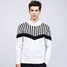 Men's #white long sleeve #sweaters pattern design, round neck, stripe texture detail, Pull over, casual, outdoor, Occasions.