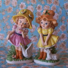 SALE Cute Girl Figurines Set of 2 by CountryTrlCollection on Etsy