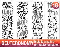 DEUTERONOMY - 4 Bible journaling printable templates, illustrated christian faith bookmarks, black and white bible verse prayer journal art
