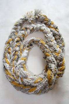 super soft yellow and grey infinity scarf $40