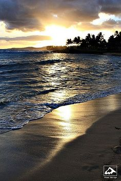 Sunset on Poipu Beach - Kauai, Hawaii
