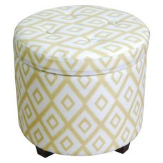Seating - Kick your feet up on the Threshold Round Tufted Storage Ottoman in Yellow/White. This attractive, circle ottoman doubles as a storage container too, so it's . Round Storage Ottoman, Tufted Storage Ottoman, Ottoman Bench, Bedroom Ottoman, White Ottoman, Round Ottoman, Yellow Storage, Dark Grey Rooms, Ideas