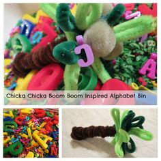 Chicka Chicka Boom Boom pipe cleaner coconut tree and alphabet sensory bin. This craft is simple enough for a preschooler or could be used as a sensory station for a classroom.