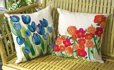 I love the hand painted look of these durable pillows.